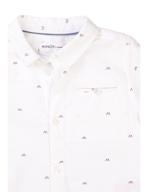 Biała koszula na krótki rękaw we wzorki