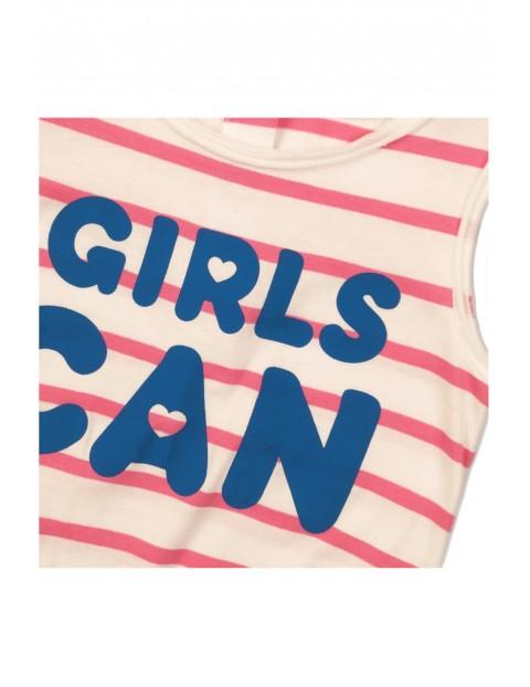 Kombinezon dziewczęcy w paseczki - GIRLS CAN