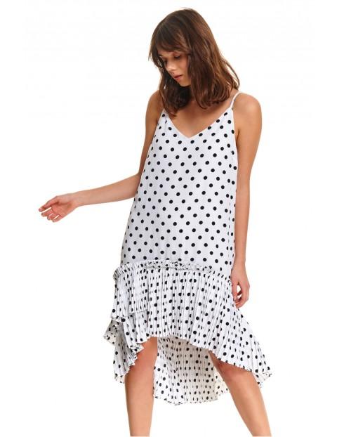 Biała sukienka damska z czarnymi kropkami z plisowaną falbanką