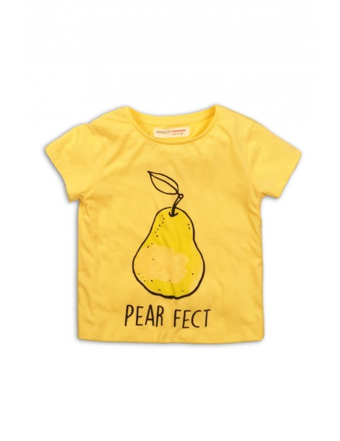 T-shirt dziewczęcy żółty z gruszką i napisem