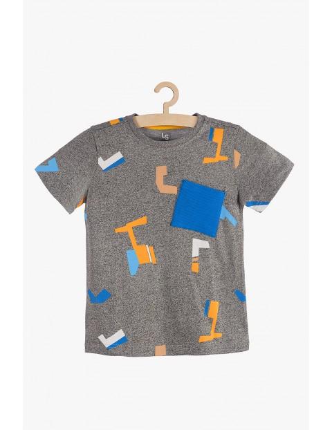 T-shirt chłopięcy szary w geometryczne wzory
