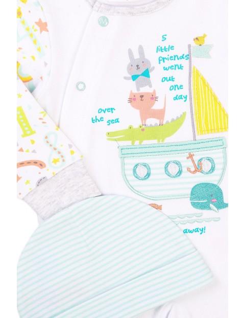 Bawełniany komplet niemowlęcy- pajac i czapeczka