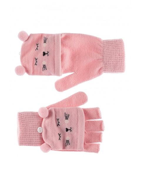 Rękawiczki dziewczęce- różowe