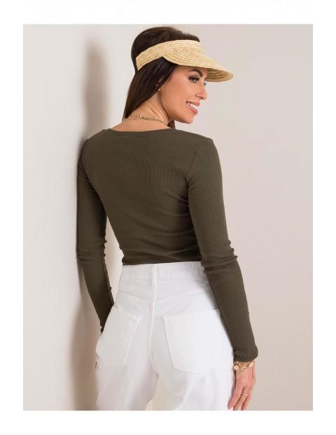 Bluzka damska z długim rękawem - zielona