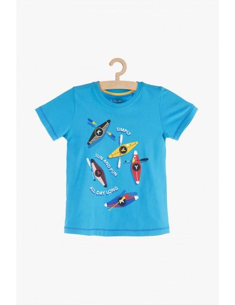 T-shirt chłopięcy niebieski z nadrukami- 100% bawelna