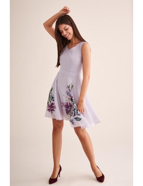 Szara sukienka na lato w kwiati midi