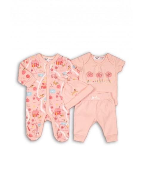 Komplet niemowlęcy bawełniany pajac-bluzka-spodenki i czapka