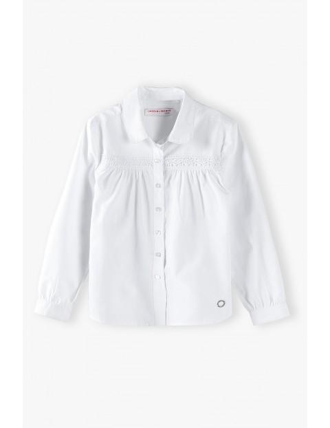 Biała elegancka koszula dziewczęca z długim rękawem