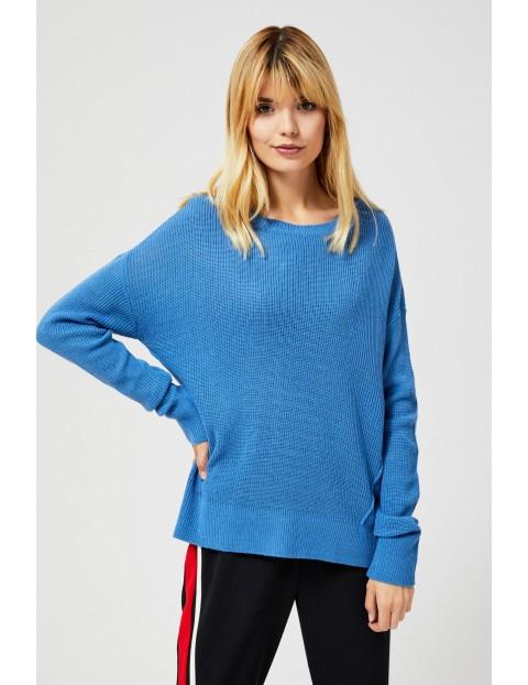 Niebieski sweter damski oversize