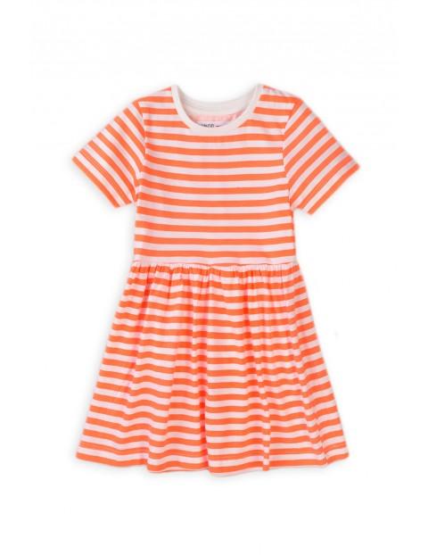 Sukienka dziewczęca w paski - pomarańczowa