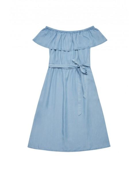 Niebieska sukienka z lyocellu - trapezowy króju