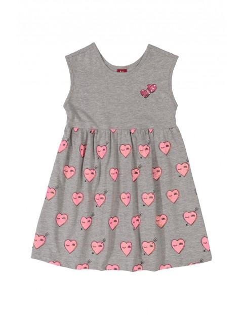 Sukienka dziecięca w serduszka - szara