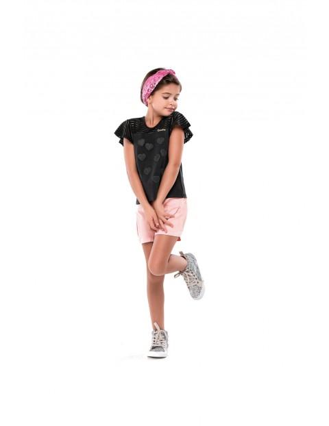 T-shirt dziewczęcy czarny w serduszka