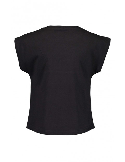 Koszulka dziewczęca z napisem czarno-biała