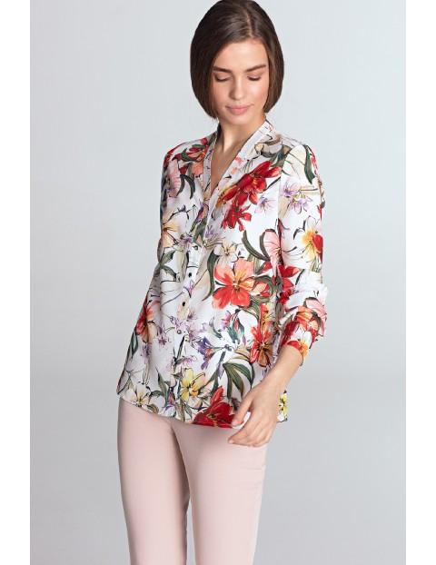 Ecru bluzka damska ze złotymi napami w kwiaty