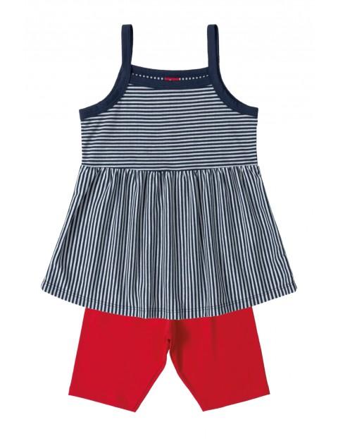Komplet dziewczęcy - koszulka w paski i czerwone spodenki