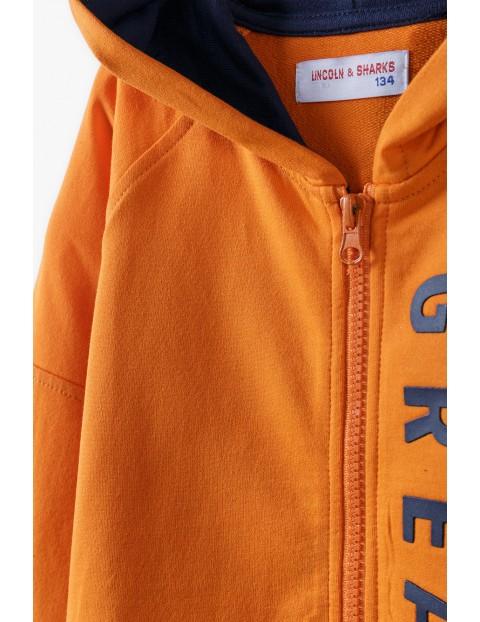 Bawełniana bluza dresowa chłopięca z kapturem - pomarańczowa