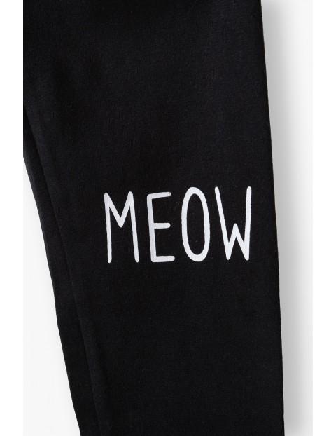 Leginsy dziewczęce czarne z kotkiem - Meow