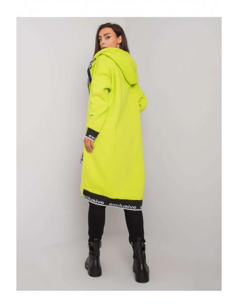 Bluza długa damska rozpinana z kapturem - żółta