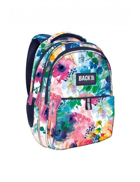 Plecak szkolny dziewczęcy w kwiaty