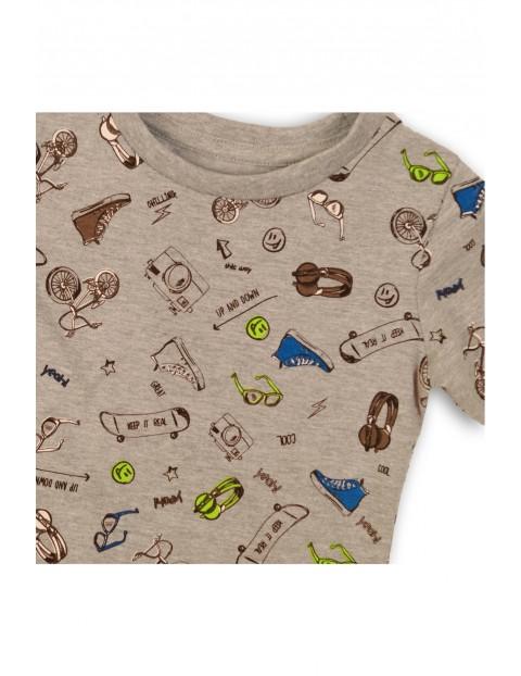 Szary t-shirt z nadrukami - niemowlęcy