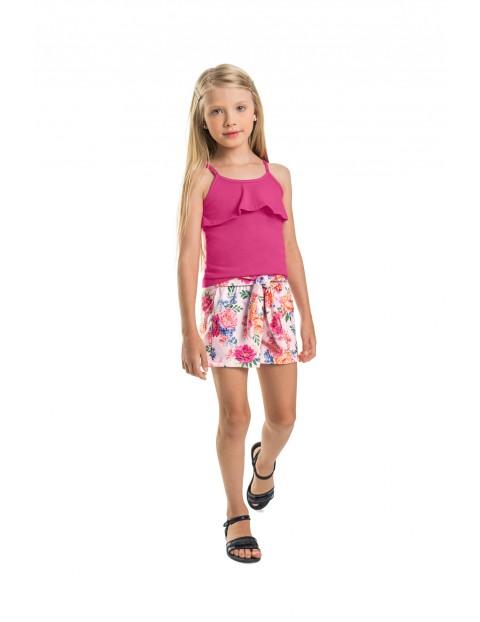 Komplet dziewczęcy bluzka+ spodenki z motywem w kwiaty