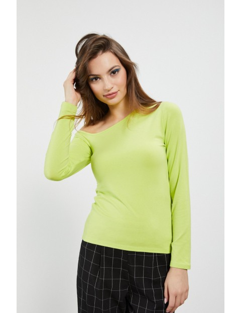 Limonkowa bluzka z asymetrycznym dekoltem