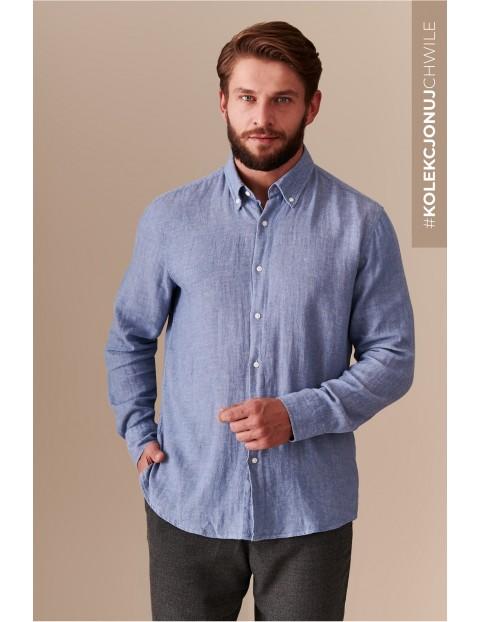 Koszula męska - niebieska z długim rękawem