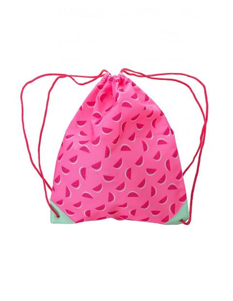 Różowy worek na kapcie-arbuzy