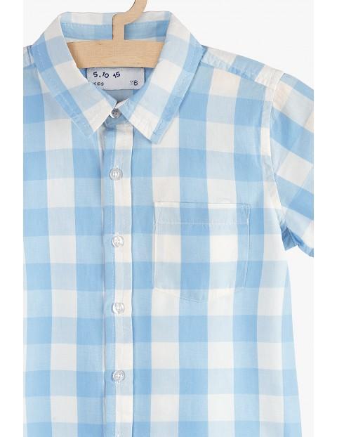 Koszula chłopięca w kratkę- niebieska