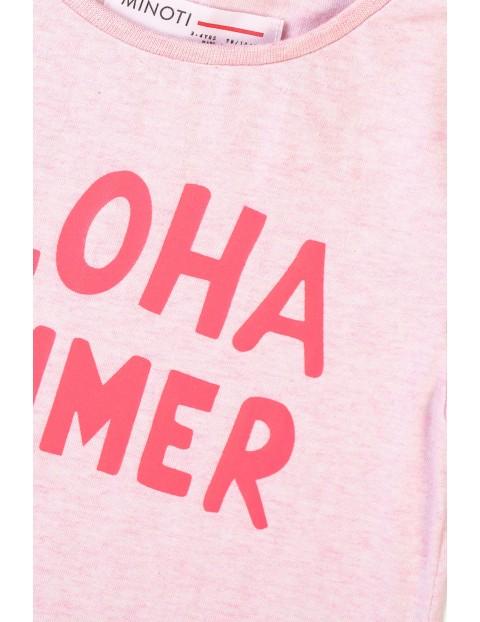 T-shirt dziewczęcy różowy z napisem  Aloha summer