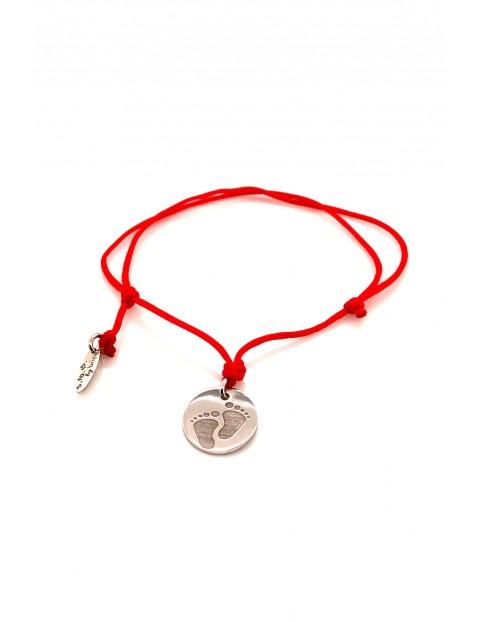 Narodziny bransoleta Stópki srebrne rodowane - czerwony sznurek