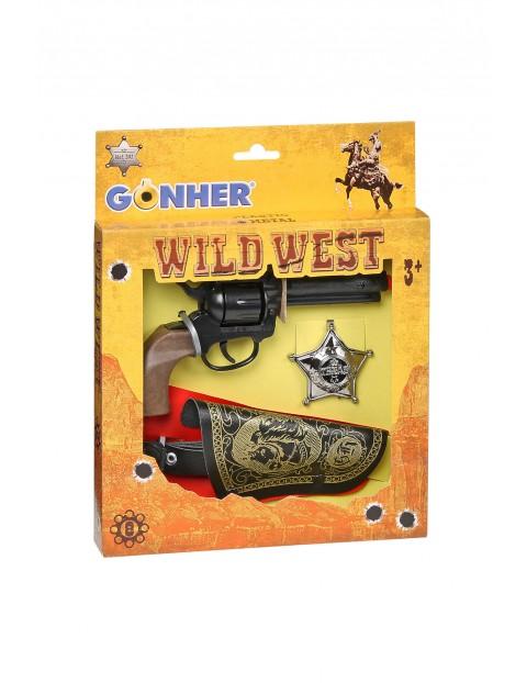 Gonher Zestaw kowbojski rewolwer z kaburą+odznaka 3+