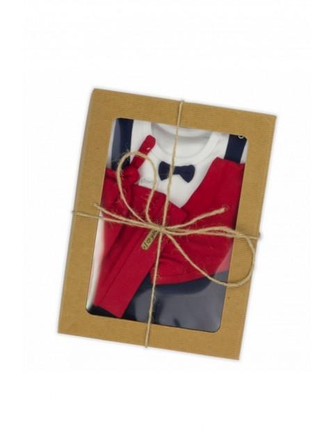 Komplet świąteczny dla noworodka czapka, apaszka, body, spodnie