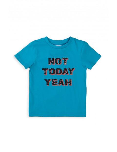 Bawełniany T-shirt niemowlęcy niebieski