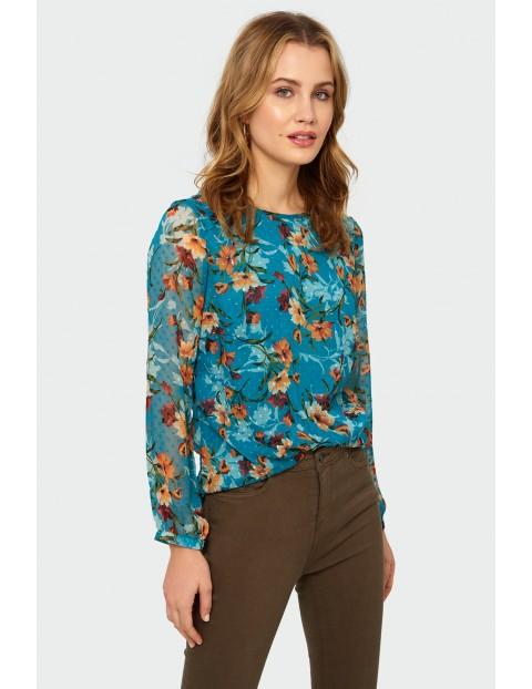 Bluzka damska z długim rękawem z kolorowe kwiatki - niebieska