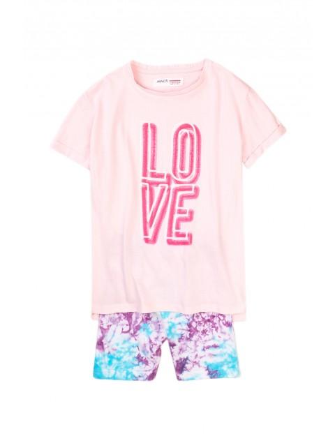 Komplet dziewczęcy bawełniany- bluzka i kolorowe szorty