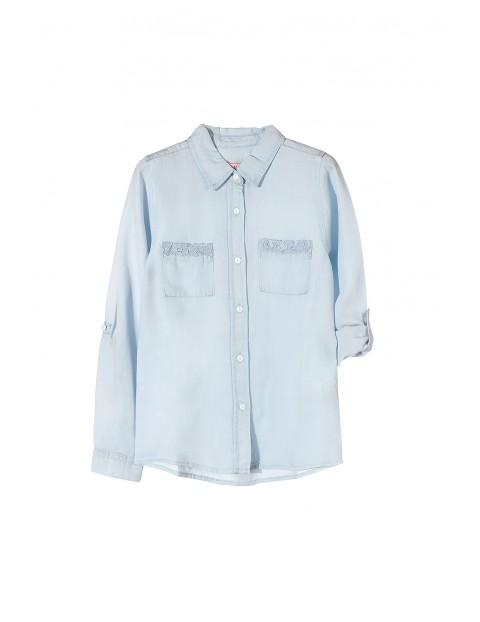 Niebieska koszula z długim rękawem dla dziewczynki