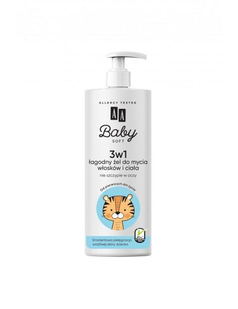 AA Baby Soft 3w1 Łagodny żel do mycia włosków i ciała 500 ml