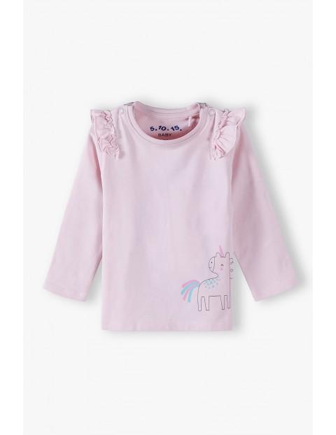 Bluzka niemowlęca na długi rękaw - różowa z jednorożcem