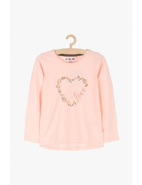 Bluzka z długim rękawem- różowa z serduszkiem