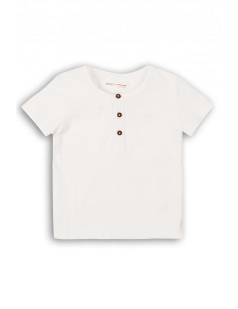 T-shirt chłopięcy biały z guzikami