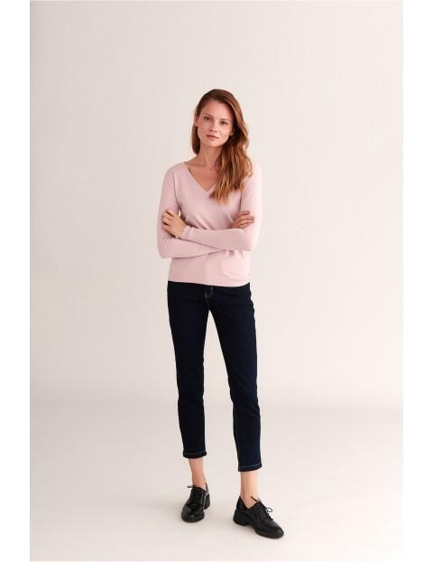 Jeansowe spodnie damskie 7/8 nogawka Tatuum  - granatowe