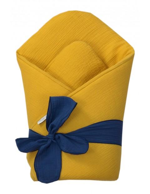 Becik niemowlęcy z usztywnieniem - żółto-granatowy