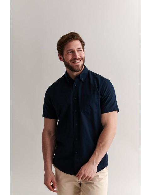 Bawełniana koszula męska na krótki rękaw - granatowa