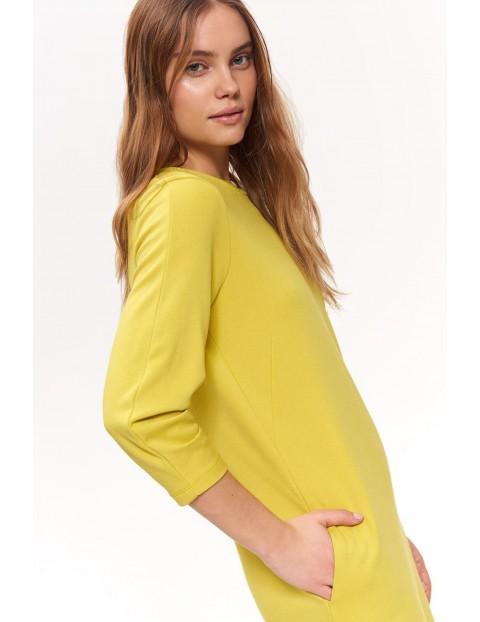 Żółta sukienka damska dzianinowa
