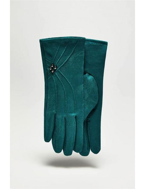Długie stylowe rękawiczki damskie z zamszu - zielone