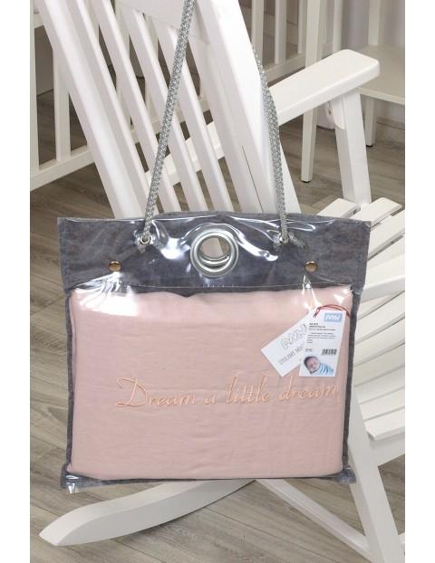 Lniana pościel 2-elementowa do łóżeczka, 135x100cm + 60x40cm - róż