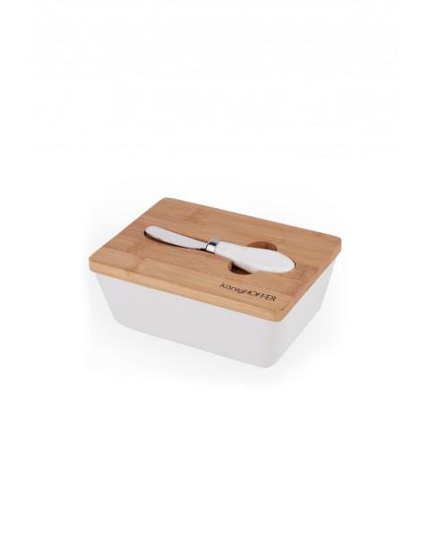 Maselnica z bambusową pokrywką+nożyk KönigHOFFER biała