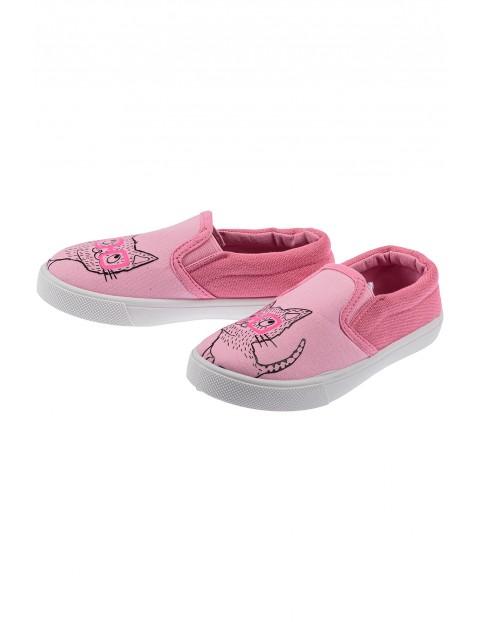 Trampki dla dziewczynki- różowe z kotami
